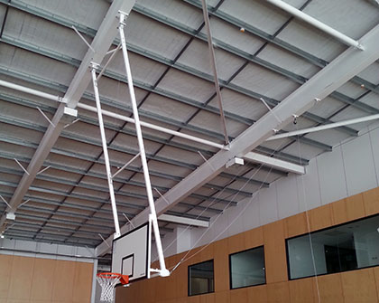 Forward hinged basketball system grand slam sports equipment Indoor basketball court ceiling height
