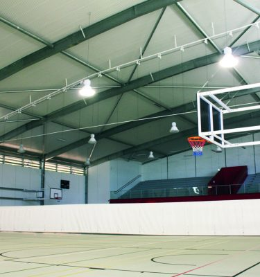 Indoor Court Curtains - Vertical lift automated system (vinyl and net) 1